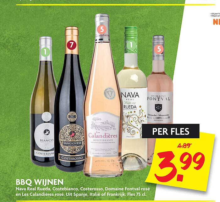 DekaMarkt BBQ Wijnen Nava Real Rueda, Costebianco, Costerosso, Domaine Fontval Rosé En Les Calandières Rosé