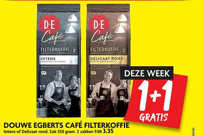 DekaMarkt Douwe Egberst Café Filterkoffie Intens Of Delicaat Rond 1+1 Gratis