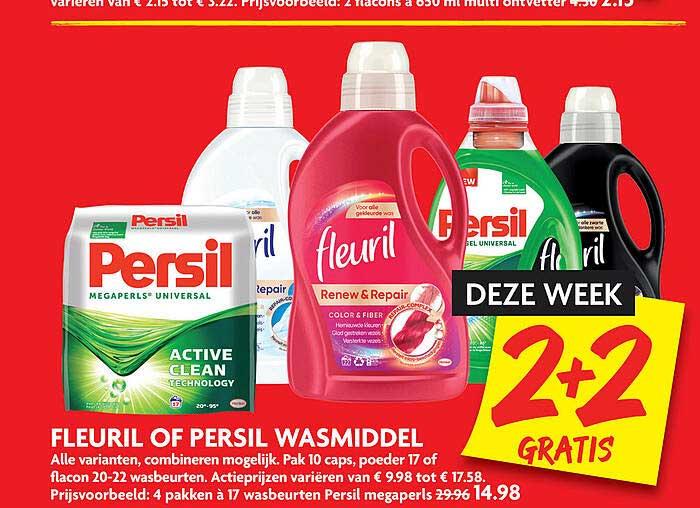 DekaMarkt Fleuril Of Persil Wasmiddel 2+2 Grati