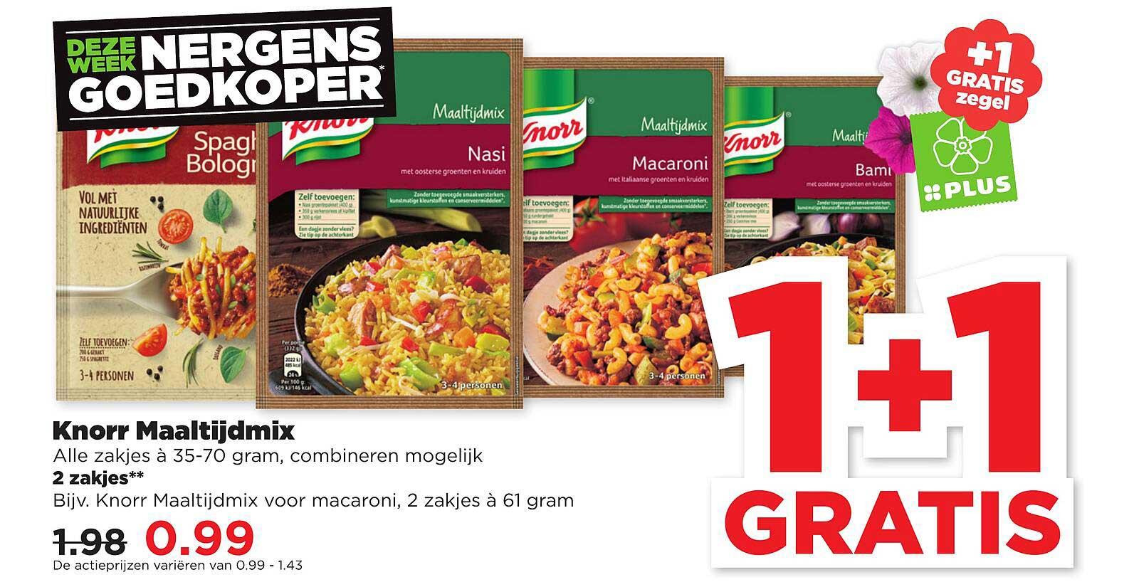 PLUS Knorr Maaltijdmix 1+1 Gratis