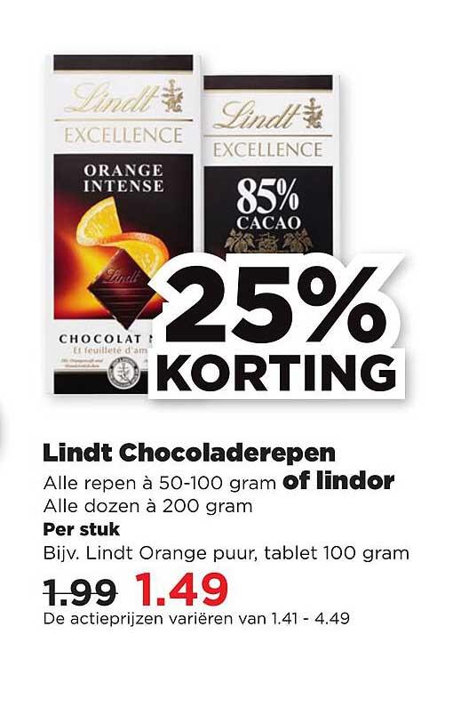 PLUS Lindt Chocoladerepen Of Lindor 25% Korting