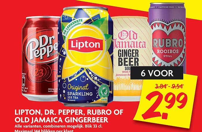 DekaMarkt Lipton, Dr. Pepper, Rubro Of Old Jamaica Gingerbeer