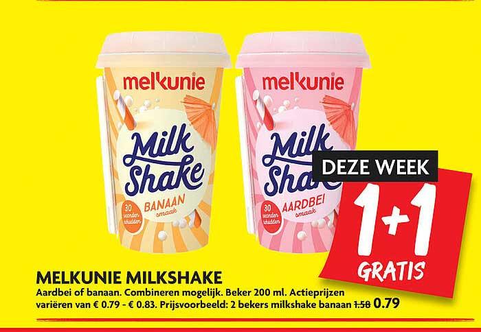 DekaMarkt Melkunie Milkshake Aardbei Of Banaan 1+1 Gratis