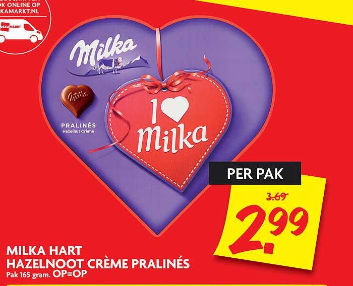DekaMarkt Milka Hart Hazelnoot Crème Pralinés