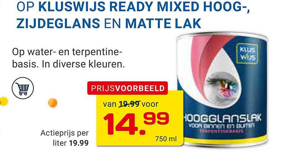 KlusWijs Op Kluswijs Ready Mixed Hoog-, Zijdeglans En Matte Lak