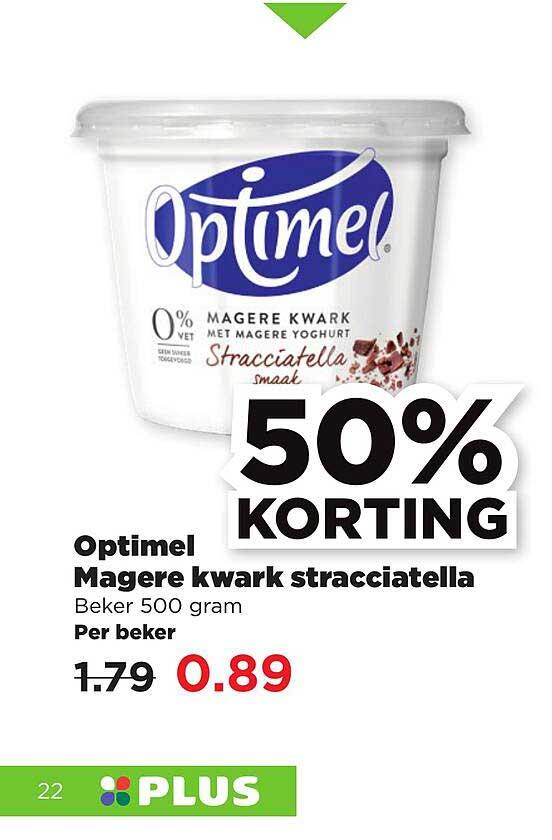 PLUS Optimel Magere Kwark Stracciatella 50% Korting