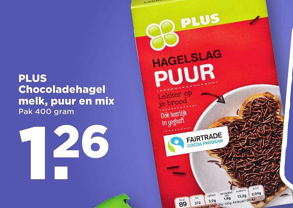 PLUS Plus Chocoladehagel Melk, Puur En Mix