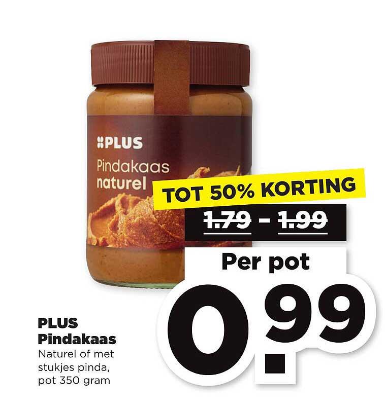 PLUS Plus Pindakaas Tot 50% Korting