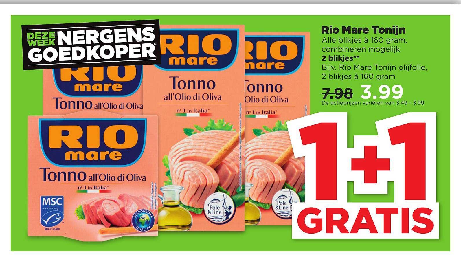 PLUS Rio Mare Tonijn 1+1 Gratis