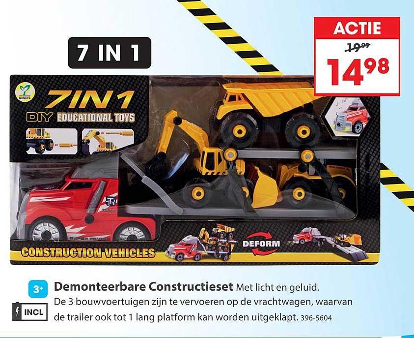 Top 1 Toys Construction Vehicles Demonteerbare Constructieset