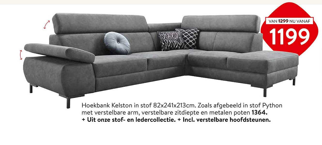 Profijt Meubel Hoekbank Kelston 82x241x213cm