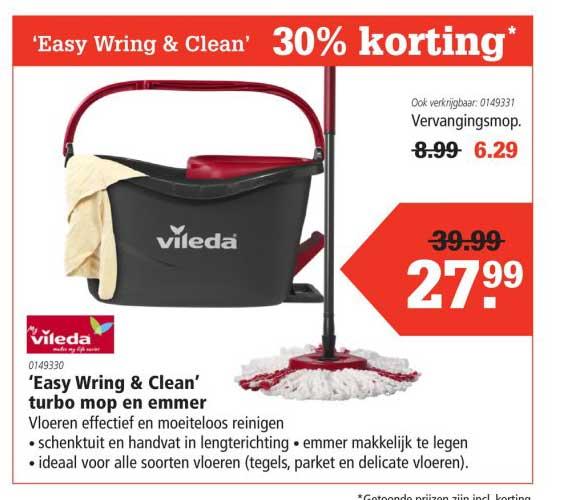 Marskramer Vileda Easy Wring & Clean Turbo Mop En Emmer: 30% Korting