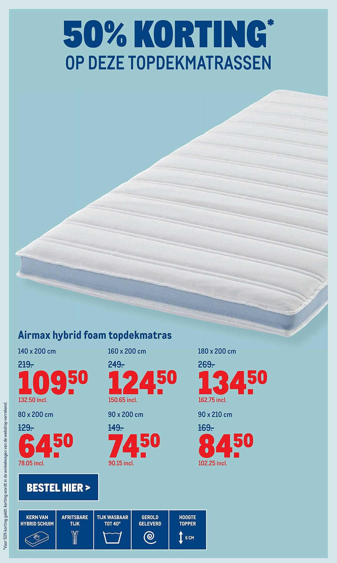 Makro Airmax Hybrid Foam Topdekmatras 50% Korting