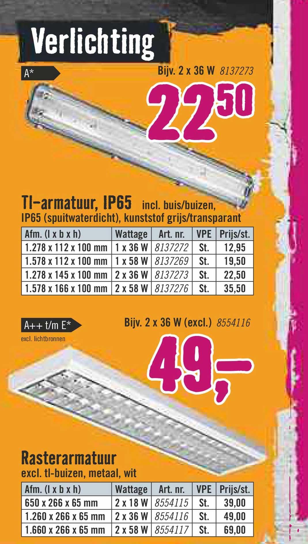 Hornbach Verlichting TL Armatuur IP 65 En Rasterarmatuur