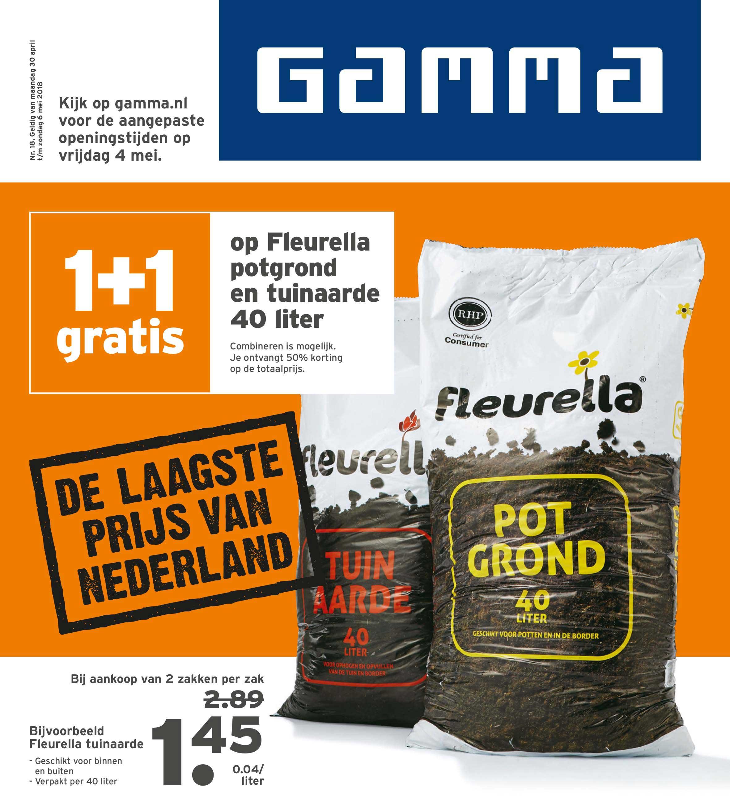 Gamma 1+1 Gratis Op Fleurella Potgrond En Tuinaarde 40 Liter