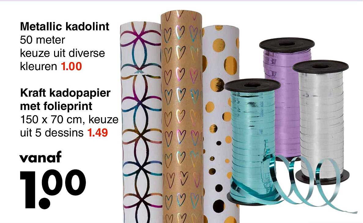 Wibra Metallic Kadolint Of Kraft Kadopapier Met Folieprint