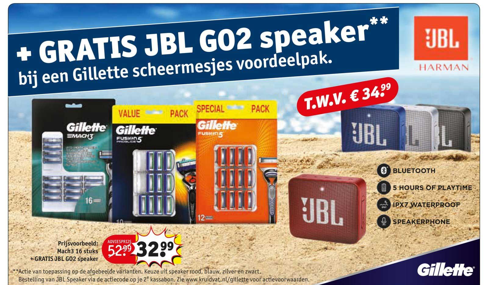 Kruidvat Gillette Scheermesjes Voordeelpak + GRATIS JBL GO2 Speaker