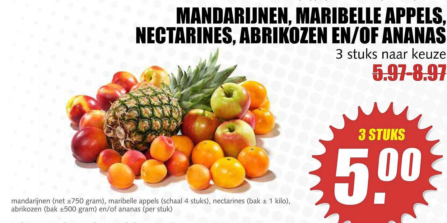 MCD Supermarkt Mandarijnen, Maribelle Appels, Nectarine, Abrikozen En-of Ananas