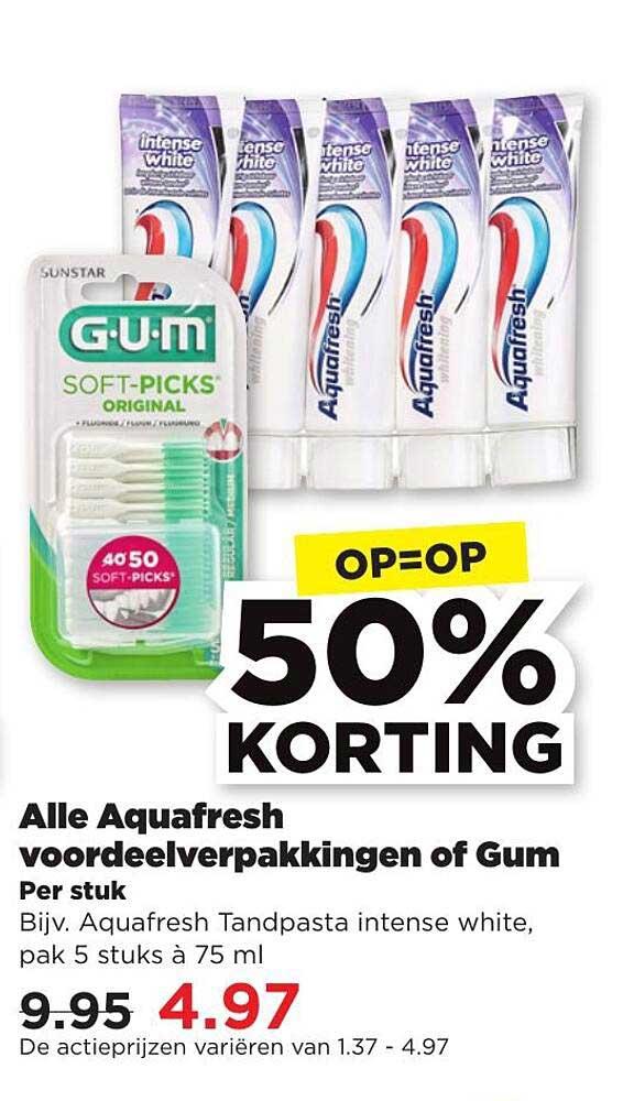 PLUS Alle Aquafresh Voordeelverpakkingen Of Gum 50% Korting