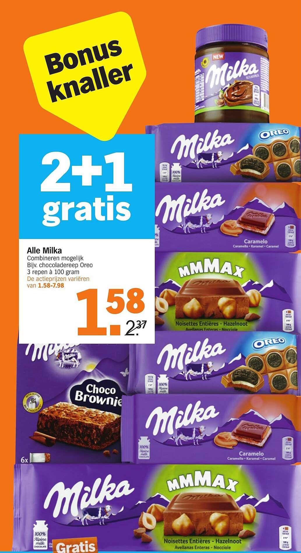 Albert Heijn Alle Milka 2+1 Gratis