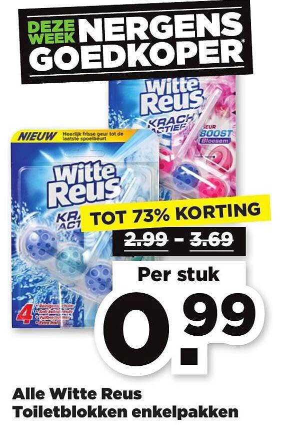 PLUS Alle Witte Reus Toiletblokken Enkelpakken Tot 73% Korting