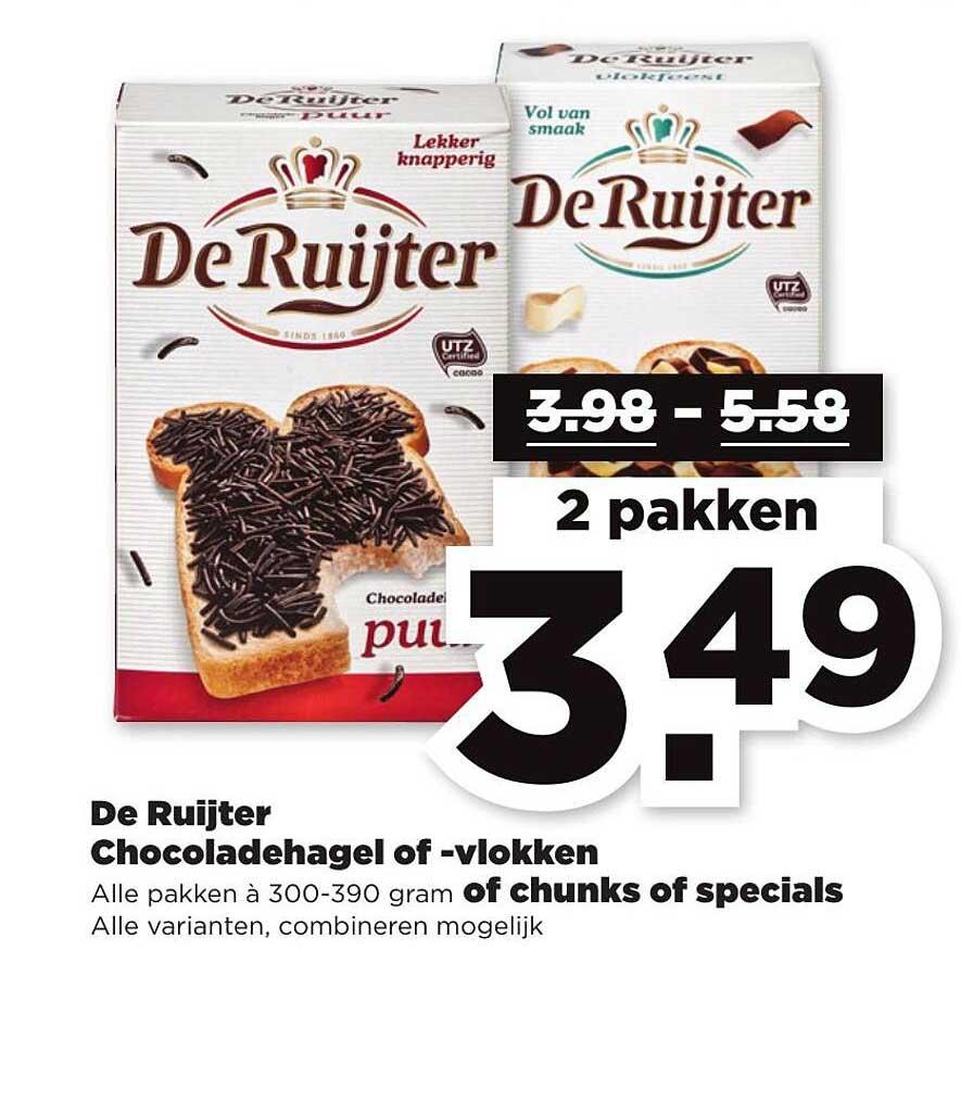 PLUS De Ruijter Chocoladehagel Of -vlokken Of Chunks Of Specials