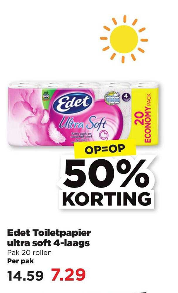 PLUS Edet Toiletpapier Ultra Soft 4-Laags 50% Korting