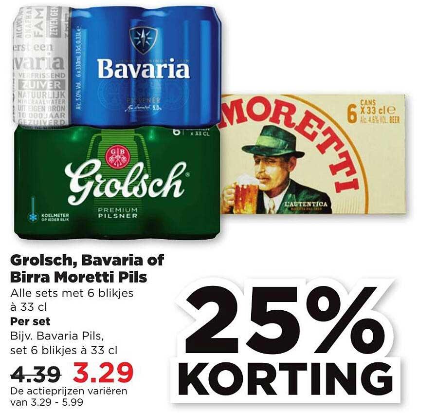 PLUS Grolsch, Bavaria Of Birra Moretti Pils 25% Korting