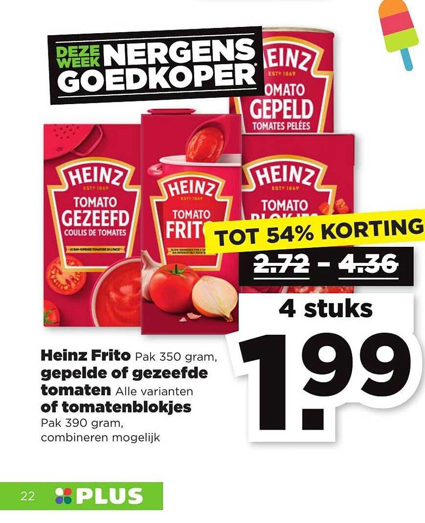 PLUS Heinz Frito, Gepelde Of Gezeefde Tomaten Of Tomatenblokjes