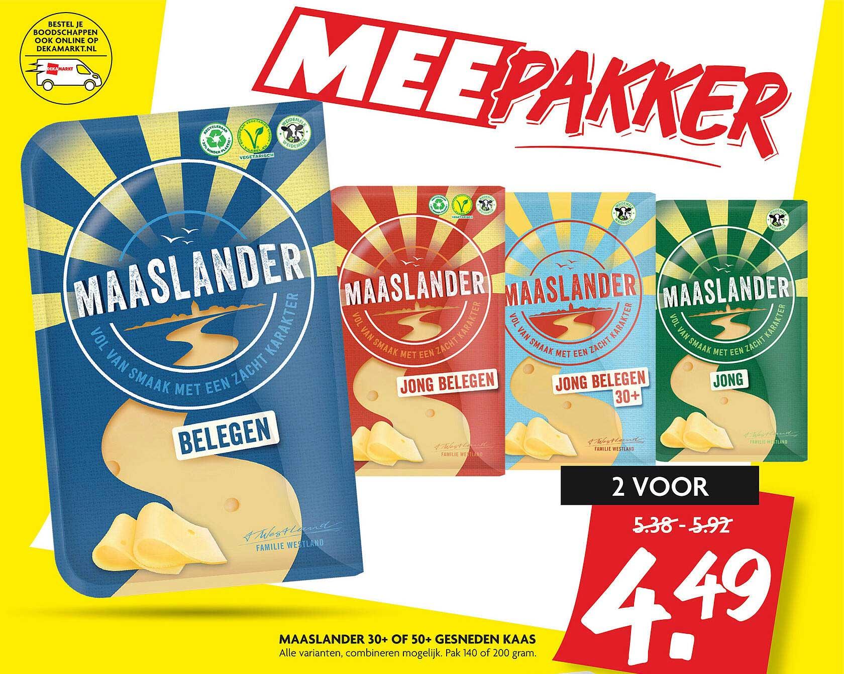 DekaMarkt Maaslander 30+ Of 50+ Gesneden Kaas
