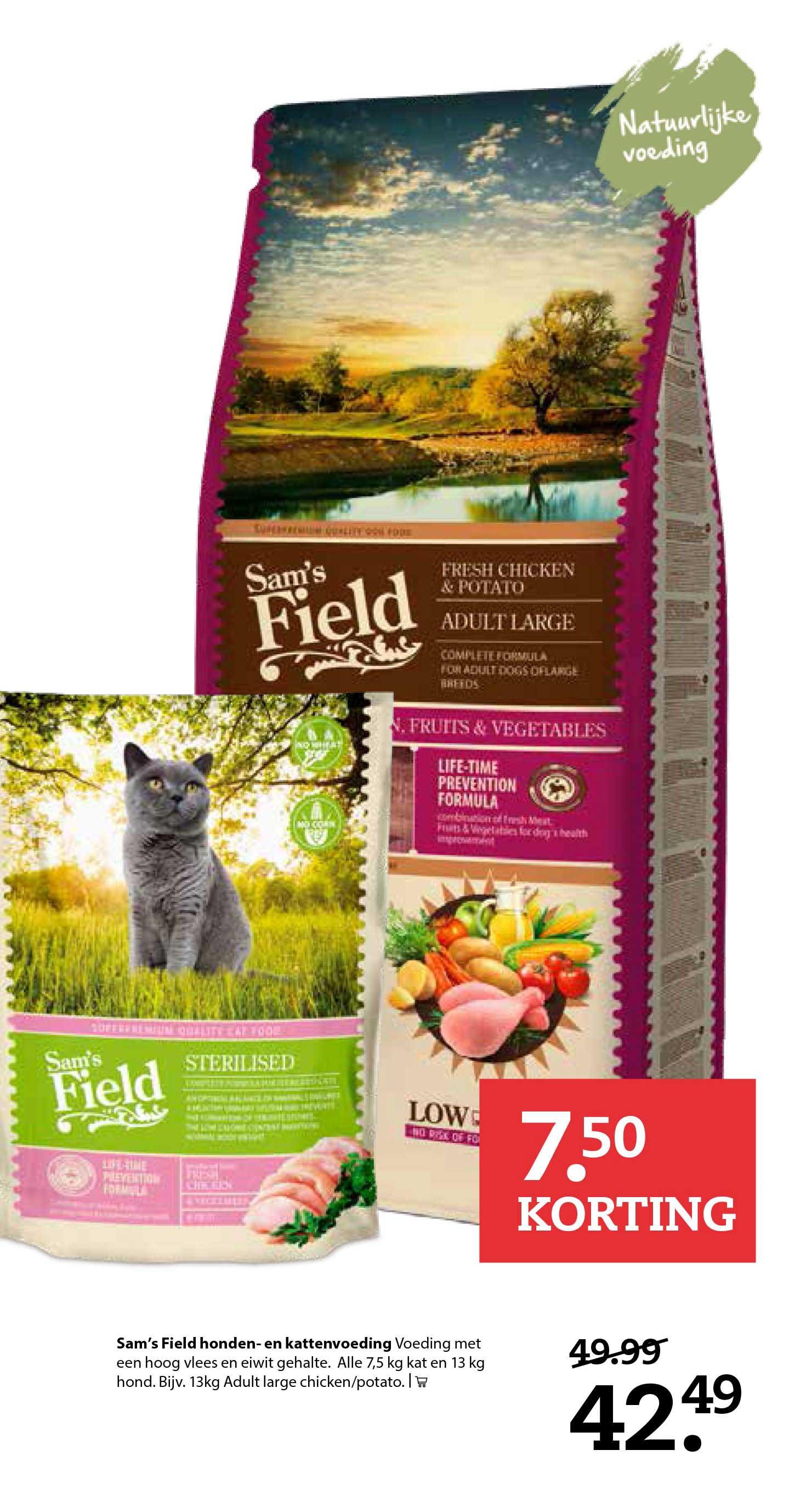 Pets Place Sam's Field Honden En Kattenvoeding: €7,50 Korting