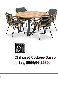 Boer Staphorst Diningset Cottage-Basso 5-Delig