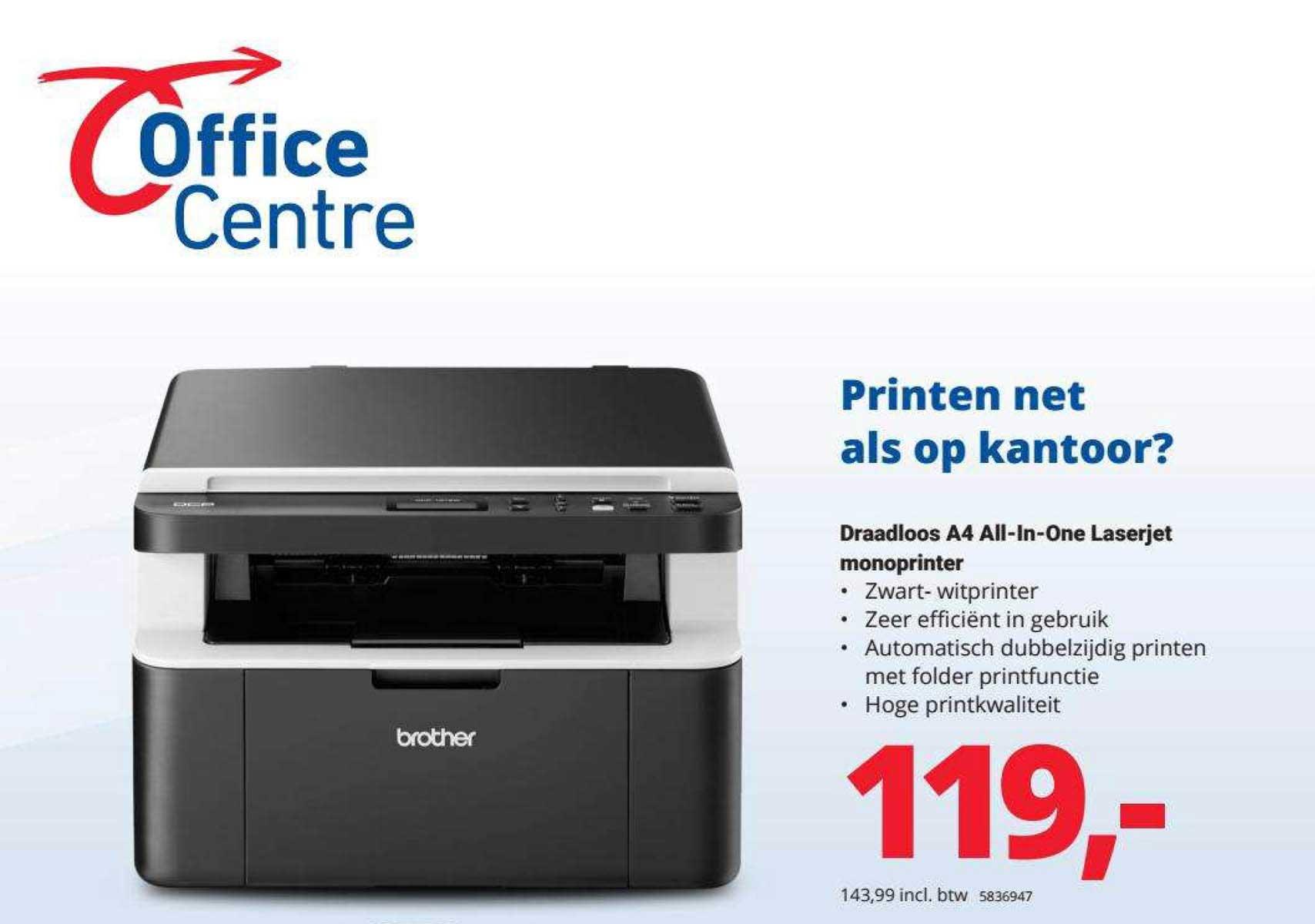 Office Centre Draadloos A4 All-in-One Laserjet Monoprinter