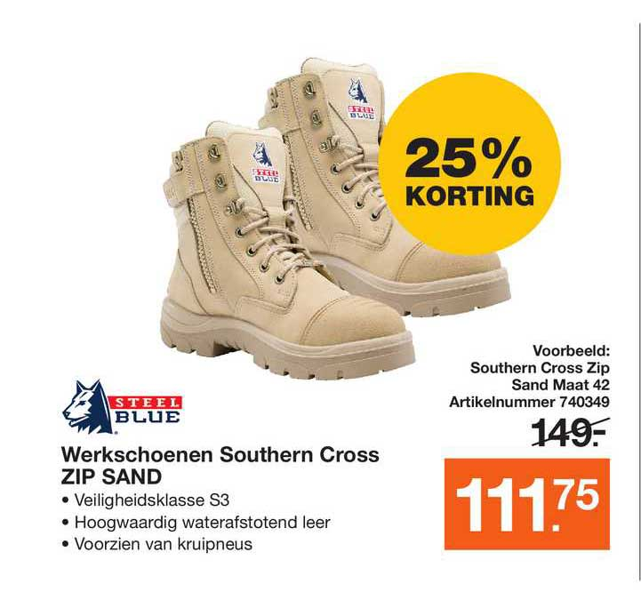 Bouwmaat Steel Blue Werkschoenen Southern Cross Zip Sand 25% Korting