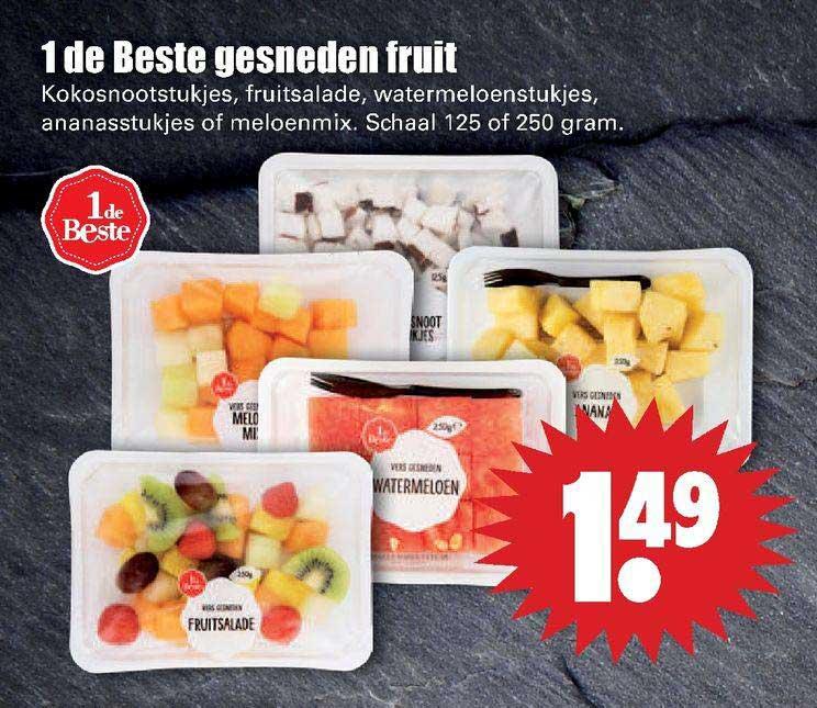 Dirk 1 De Beste Gesneden Fruit Kokosnootstukjes, Fruitsalade, Watermeloenstukjes, Ananasstukjes Of Meloenmix