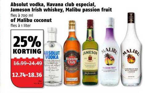 Poiesz Absolut Vodka, Havana Club Especial, Jameson Irish Whiskey, Malibu Passion Fruit Of Malibu Coconut 25% Korting