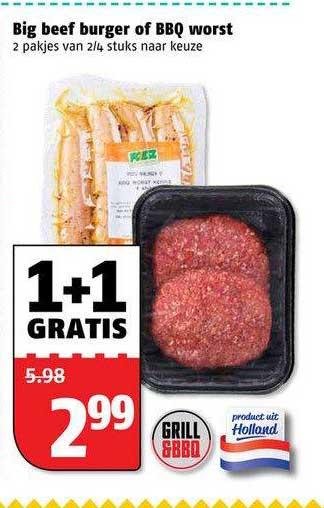Poiesz Big Beef Burger Of BBQ Worst 1+1 Gratis