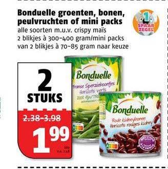 Poiesz Bonduelle Groenten, Bonen, Peulvruchten Of MIni Packs
