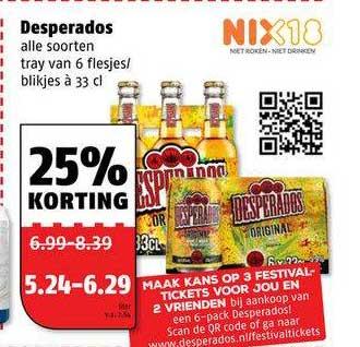Poiesz Desperados 25% Korting