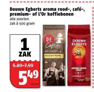 Poiesz Douwe Egberts Aroma Rood-, Café-, Premium Of L'Or Koffiebonen