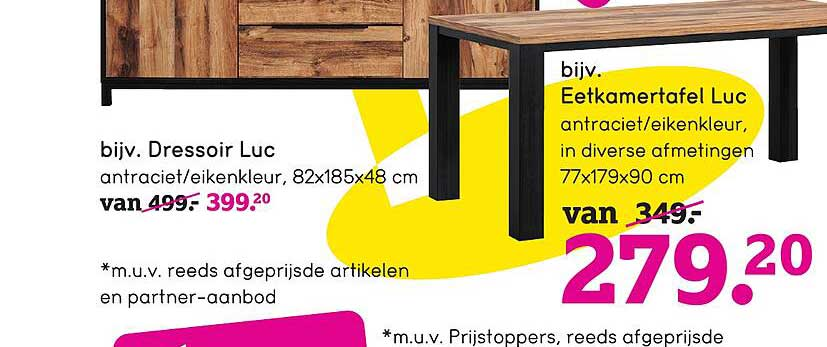 Leen Bakker Dressoir Luc 82x185x48 Cm Of Eetkamertafel Luc 77x179x90 Cm