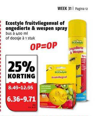 Poiesz Ecostyle Fruitvliegenval Of Ongedierte & Wespen Spray 25% Korting