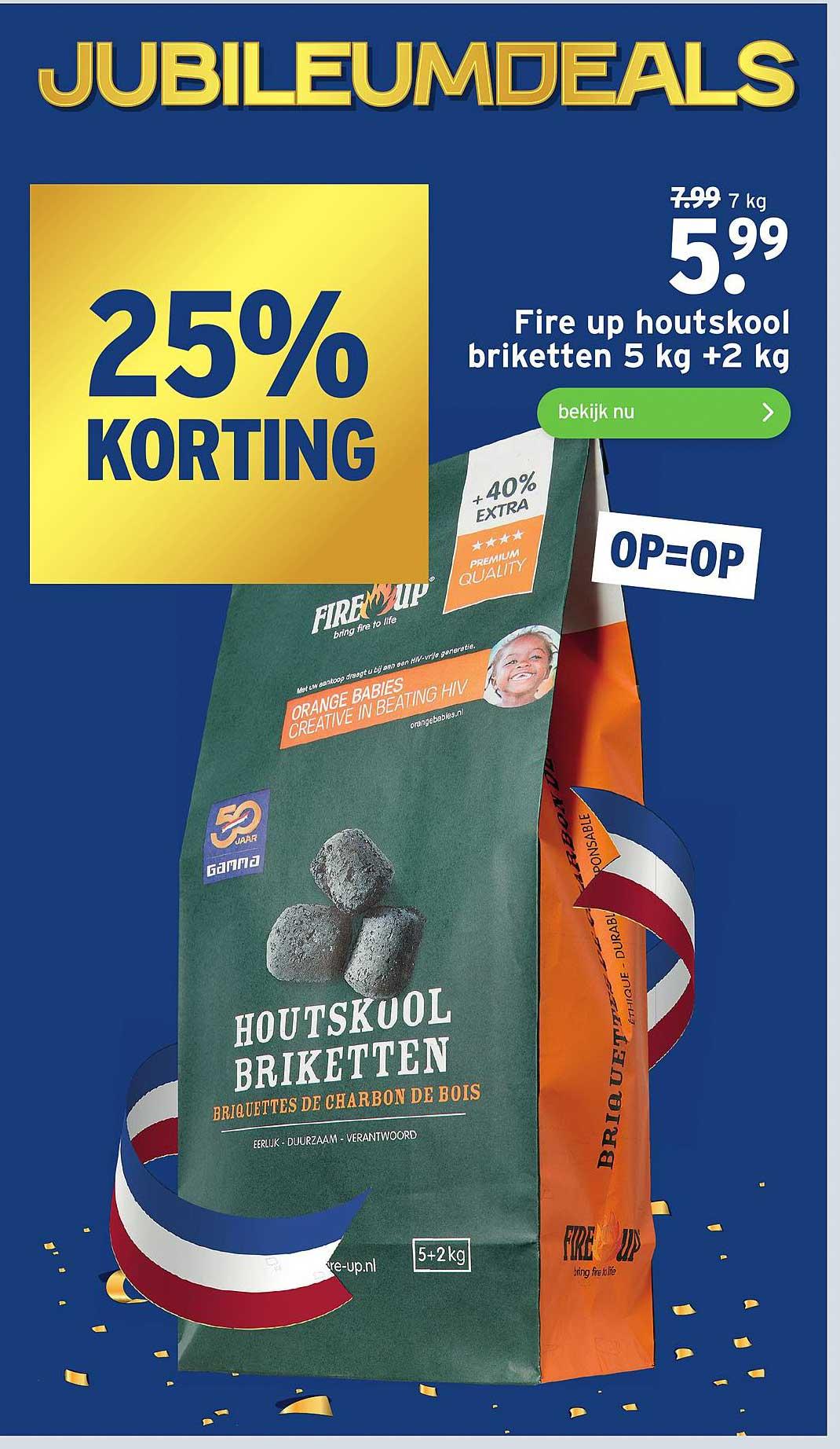 Gamma Fire Up Houtskool Briketten 5 Kg +2 Kg 25% Korting