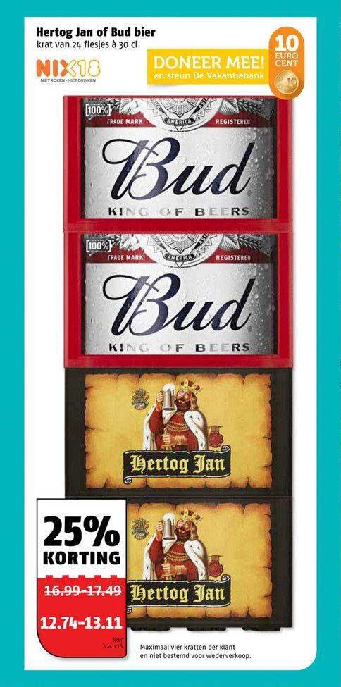 Poiesz Hertog Jan Of Bud Bier 25% Korting