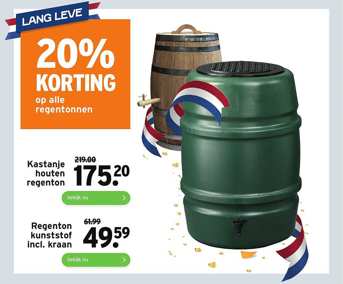 Gamma Kastanje Houten Regenton Of Regenton Kunststof Incl. Kraan 20% Korting