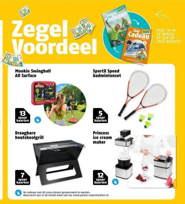 Poiesz Mookie Swingball All Surface, Draagbare Houtskoolgrill, SportX Speed Badmintonset Of Princess Ice Cream Maker