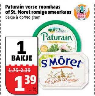 Poiesz Paturain Verse Roomkaas Of St. Moret Romige Smeerkaas