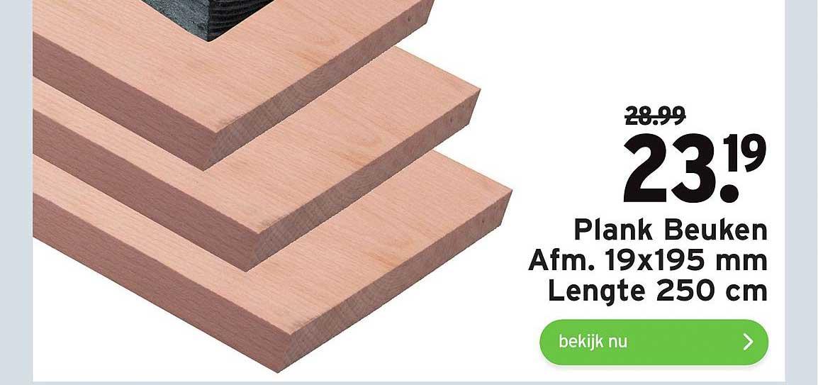 Gamma Plank Beuken 19x195 Mm Lengte 250 Cm