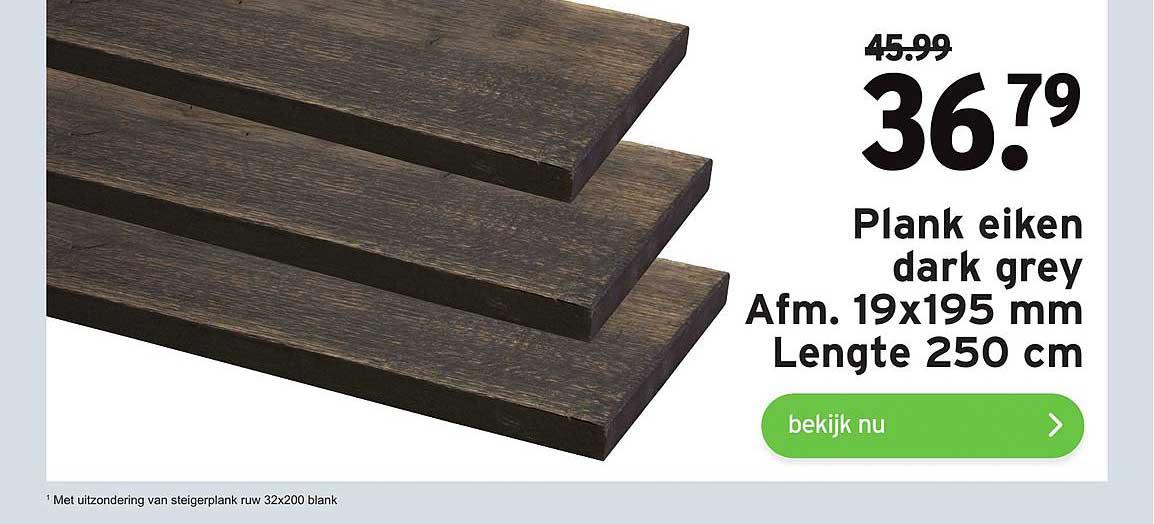 Gamma Plank Eiken Dark Grey 19x195 Mm Lengte 250 Cm