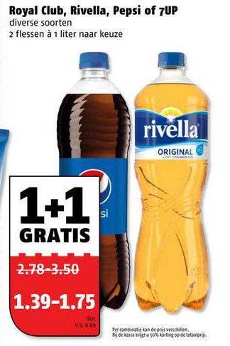 Poiesz Royal Club, Rivella, Pepsi Of 7UP 1+1 Gratis